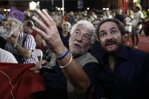 People react to exit polls in Athens, Greece, on Sunday, Sept. 20, 2015.