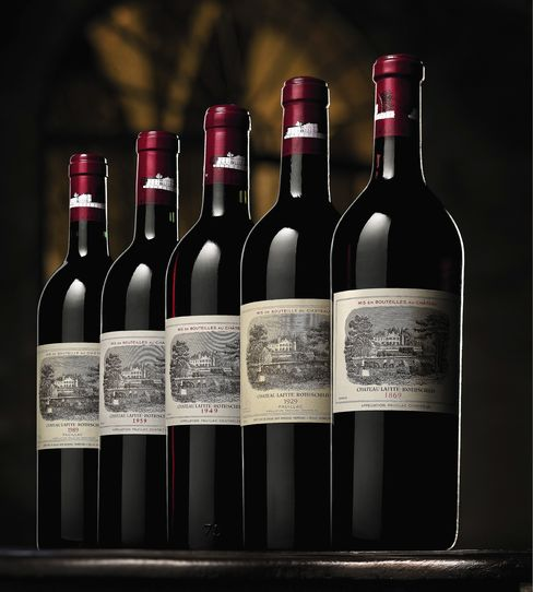 Bottles of 1869 vintage Lafite sold for a record $HK 1.8 million each at Sotheby's Oct. 29 auction in Hong Kong of wines sourced directly from Chateau Lafite-Rothschild. Each was expected to fetch between HK$40,000 and HK$60,000. Source: Sotheby's via Bloomberg