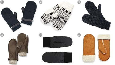 (1) Lionel, Hermès $600, hermes.com; (2) Southwestern-patterned mittens, Forever 21 $8.90, forever21.com; (3) mittens, Bickley + Mitchell $48, eastdane.com; (4) buckskin chopper mittens, L.L.Bean $69, llbean.com; (5) down padded mittens, COS $49, cosstores.com; (6) mittens in tan faux shearling, ASOS $28.66, asos.com.