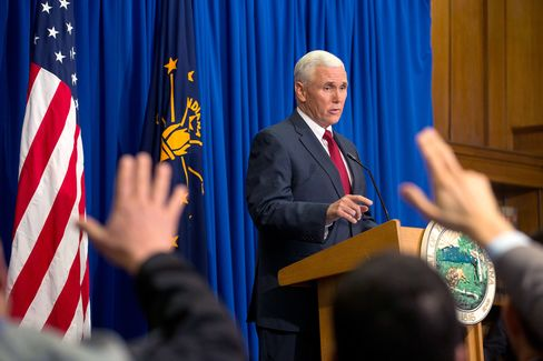Indiana Gov. Mike Pence during a press conference on March 31, 2015 at the Indiana State Library in Indianapolis. Pence spoke about the state's controversial Religious Freedom Restoration Act which has been condemned by business leaders and Democrats.