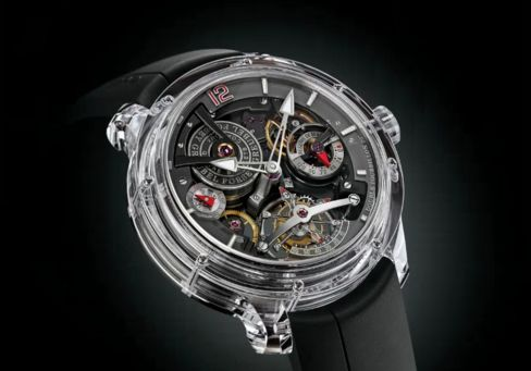 The Double Tourbillon 30° Technique in an all-sapphire case.