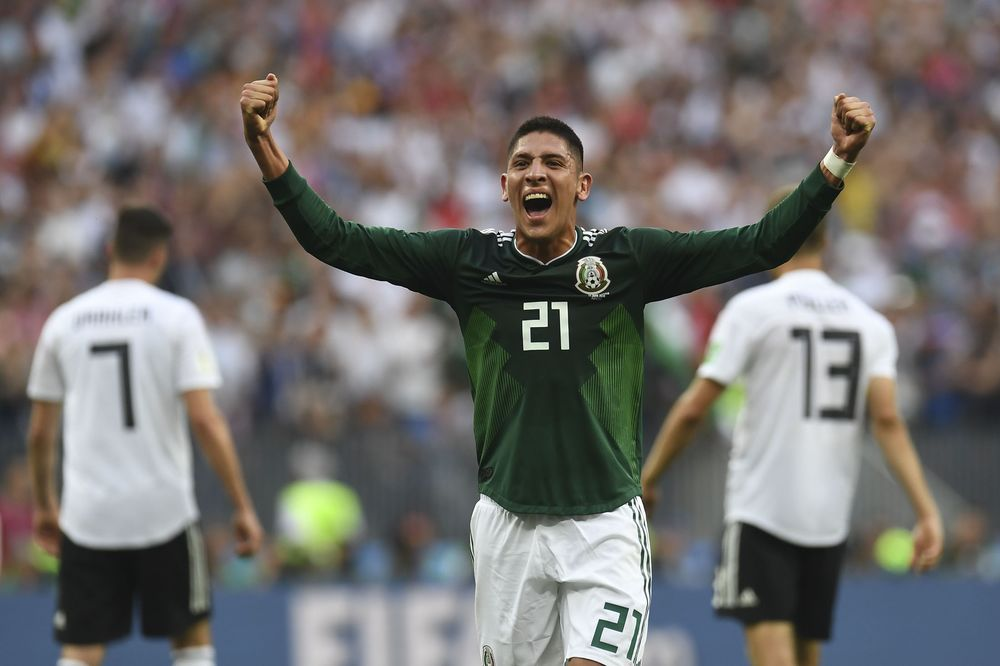 4669f571af0 Edson Alvarez celebrates after Mexico defeated Germany in Moscow on June 17.
