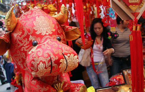 Chinese New Year decorations featuring the ox