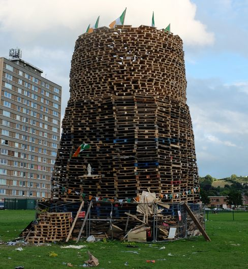 A bonfire stands unlit in the Cregagh housing estate.