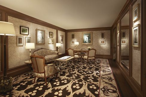 A mezzanine level VIP room.