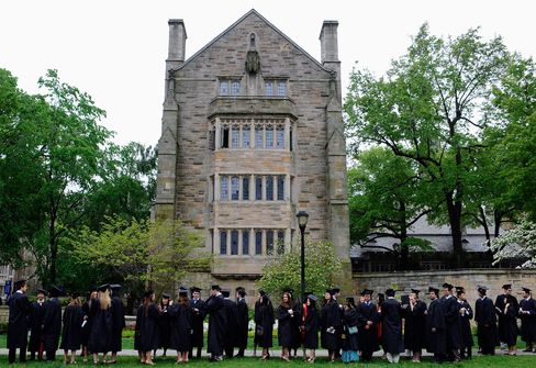 Students line up for commencement on the campus of Yale University in New Haven, Conn., on May 20, 2013.