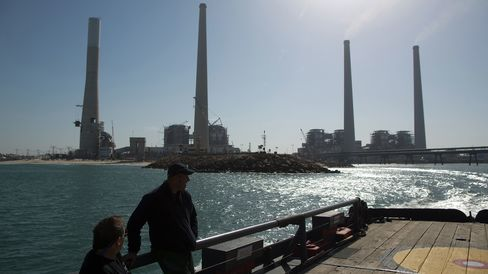 A power station on the shore of the Mediterranean Sea near the Israeli city of Hadera.