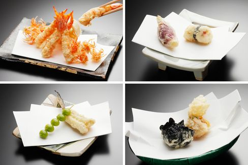 Scenes from a tempura omakase, (clockwise from top left): shrimp tails and heads; Japanese ginger and trigger fish; gogi berries and whiting; seaweed-wrapped scallops.