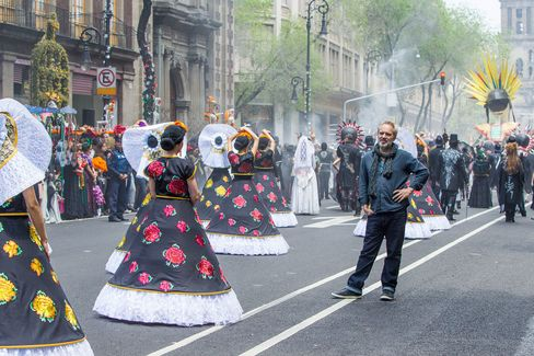 Director Sam Mendes at the opening Day of the Dead scene in Mexico. Mendes also directed 'Skyfall'.