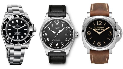 The Rolex Submariner, IWC Pilot Mark XVIII, and Panerai Luminor 1950 are all sturdy, sporty choices.