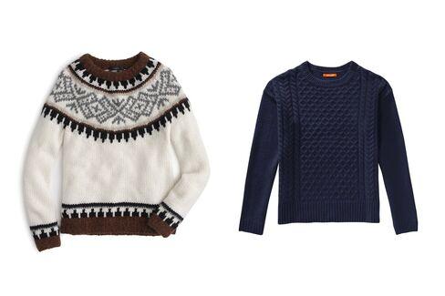 From left: Fair Isle sweater, J.Crew, $299, jcrew.com; Cable knit sweater, Joe Fresh, $39, joefresh.com.