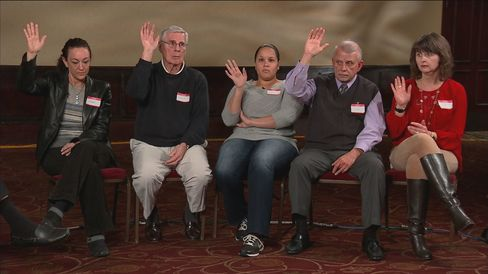 Participants in the Bloomberg Politics/Purple Strategies focus group in Columbia, South Carolina on Feb. 10, 2016 raise their hands in response to a question from moderator Mark Halperin.
