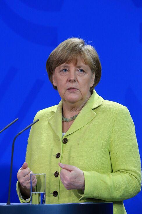 Angela Merkel speaks during a news conference in Berlin, Germany, on Monday, June 1, 2015.
