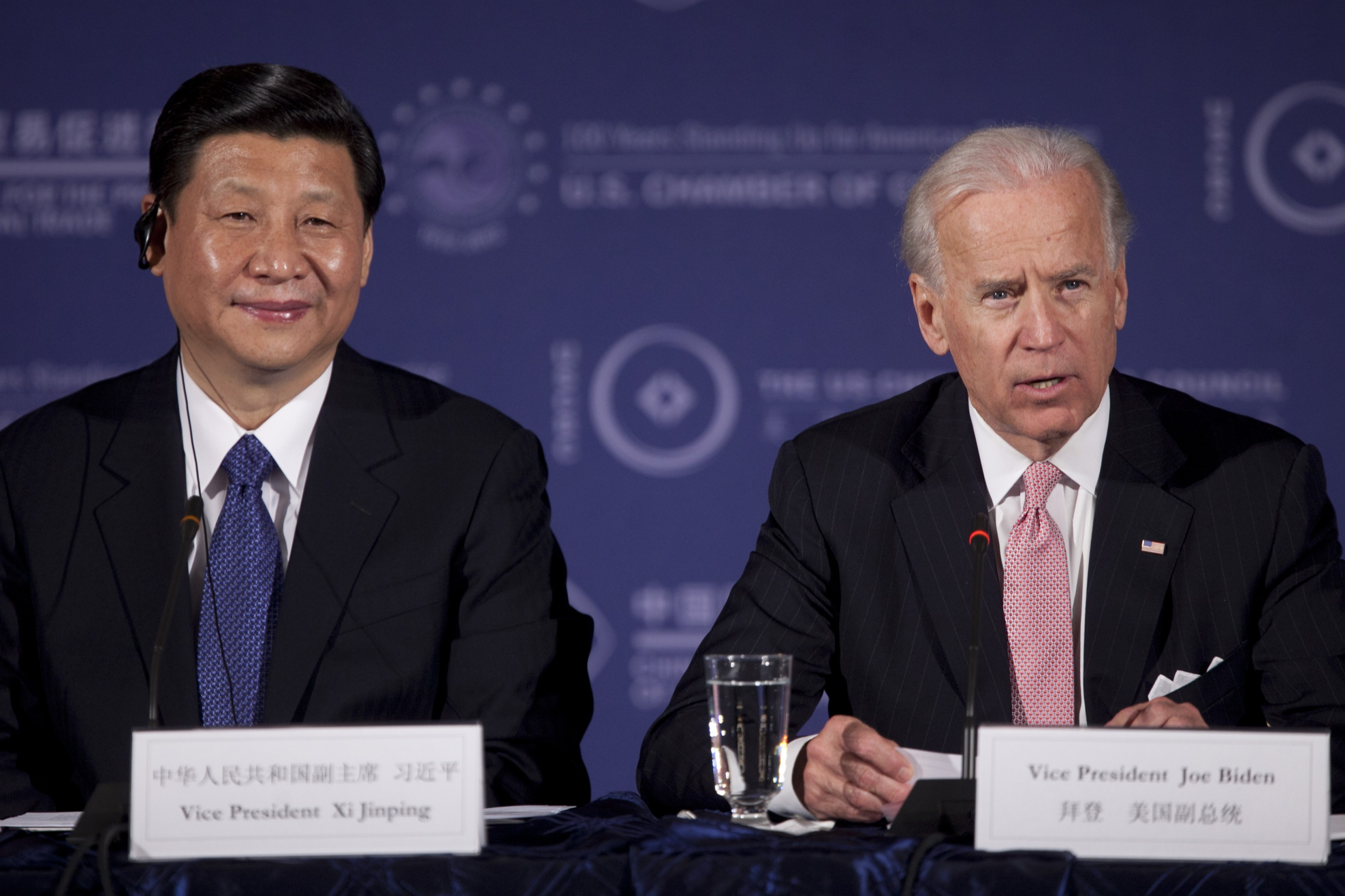 Xi Jinping and Joe Biden speak during the US-China Business Roundtable in 2012.