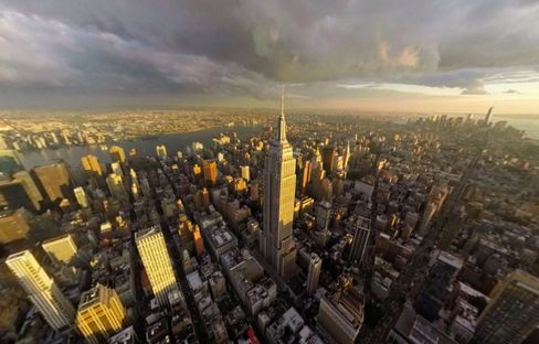 A view of Manhattan from a virtual helicopter tour, part of a promotional video created for the travel company Thomas Cook.