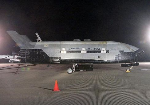 The X-37B Orbital Test Vehicle on the runway during post-landing operations Dec. 3, 2010, at Vandenberg Air Force Base, Calif.