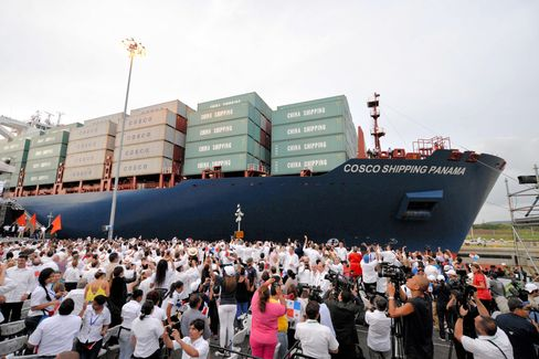 A Cosco Shipping vessel passes through the Panama Canal last month.