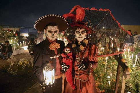 A couple in costume for the Day of the Dead.