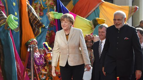 German Chancellor Merkel & Indian Prime Minister Modi