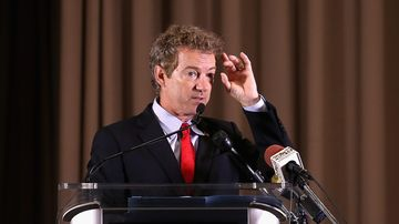 Republican presidential candidate Sen. Rand Paul (R-KY) addresses the Baltimore county Republican Party's annual Lincoln/Reagan Dinner at Martin's West June 9, 2015 in Baltimore, Maryland.