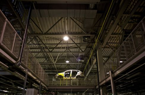 An Automobile Moves Along Hyundai's Production Line in Nosovice