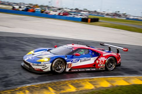 The #67 Ford GT driven on the track during the Rolex 24 at Daytona at Daytona International Speedway this year.