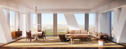 Rendering of a living room with Central Park view at 53W53.
