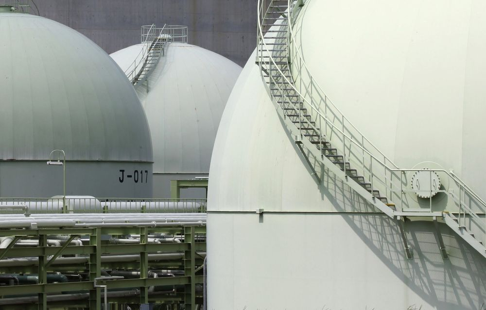 Liquefied natural gas (LNG) tanks.