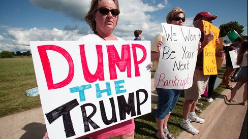 People protest Donald Trump's appearance in Birch Run, Michigan, on Aug. 11, 2015.