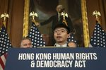 Joshua Wong speaks during a news conference about the Hong Kong Human Rights and Democracy Act in Washington on Sept. 19.