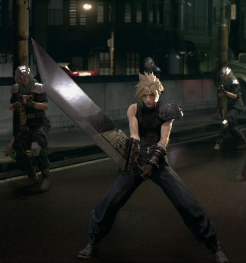 Cloud Strife battles soldiers in the remake of Final Fantasy VII.