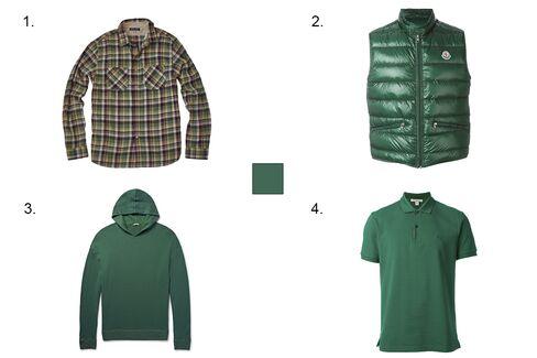 1. Alex Mill spring flannel shirt, $175, alex-mill.com 2. Moncler padded vest, $550, farfetch.com 3. Massimo Alba watercolour-dyed cashmere hoodie, $995, mrporter.com 4. Burberry Brit polo shirt, $149, farfetch.com.