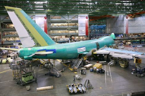 A 747 aircraft at Boeing's factory in Everett