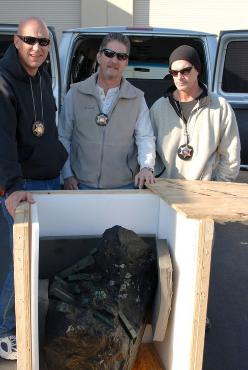 From left, Scott Miller, Mark Gayman, and now retired Lt. Tom Grub, of the L.A. Sheriffs Department, in 2008.