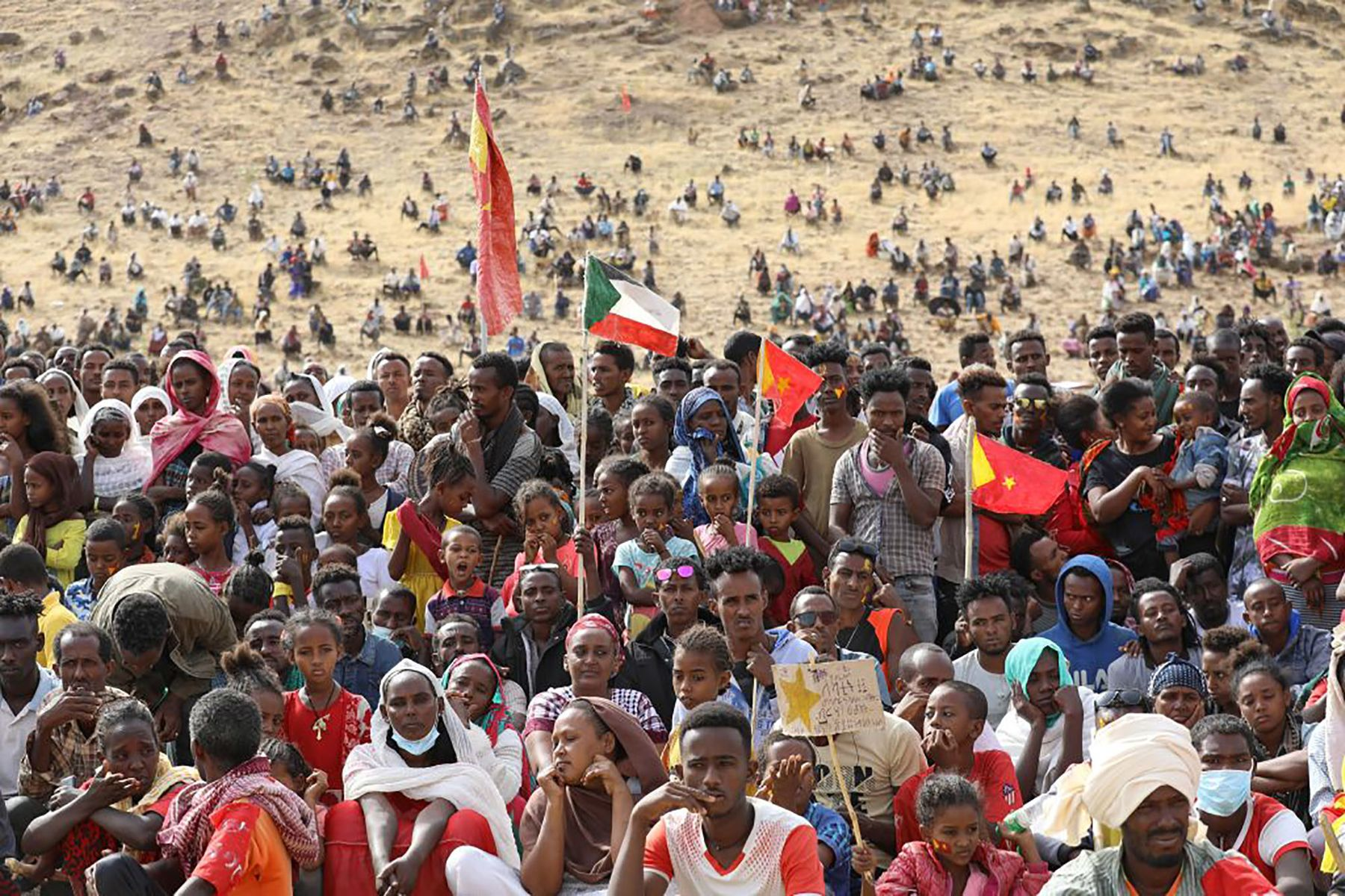 Ethiopian refugees celebrate the 46th anniversary of the Tigray People's Liberation Front at Um Raquba refugee camp, Sudan, on Feb.19.
