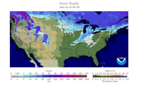 U.S. Snow depth as of Feb. 25, 2016. (Source: NOAA)