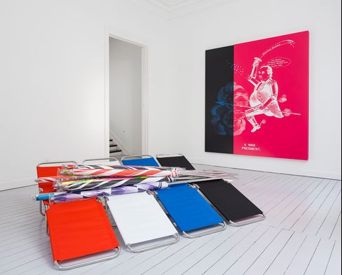 """Installation view, Kathryn Andrews, """"Trinity and Powers: In Search of Breadfruit,"""" Gladstone Gallery, Brussels"""