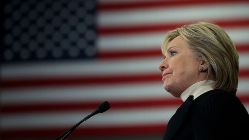 Democratic presidential candidate Hillary Clinton speaks at her primary night gathering on Feb. 9, 2016, in Hooksett, New Hampshire.
