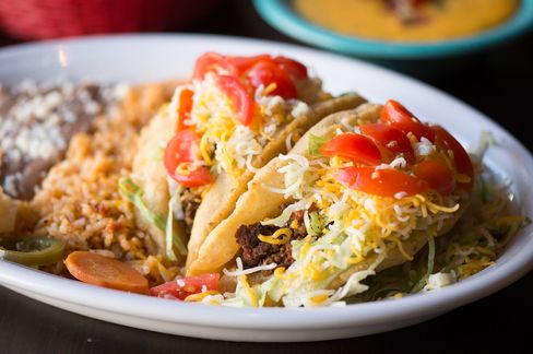 You'll find puffy tacos stuffed at El Original with finely ground beef.