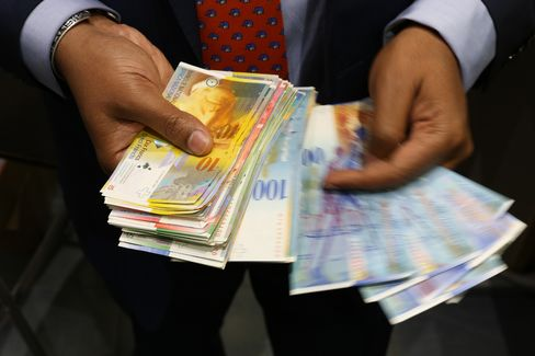 Swiss Currency Following Swiss National Bank's Decision To End Franc Cap