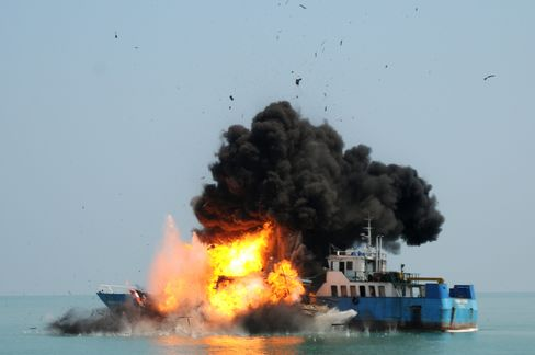 Indonesian Navy Blows Up Illegal Vessels
