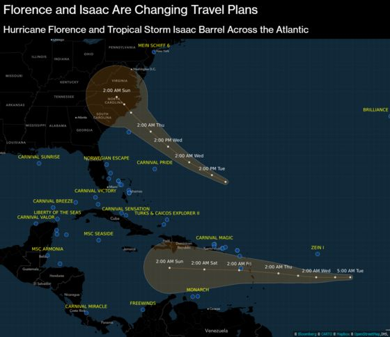 Hurricane Florence and Tropical Storm Isaac Threaten Cruise Routes