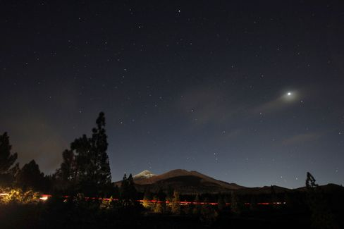 Stargazing in Tenerife, with the volcano Teide in the background