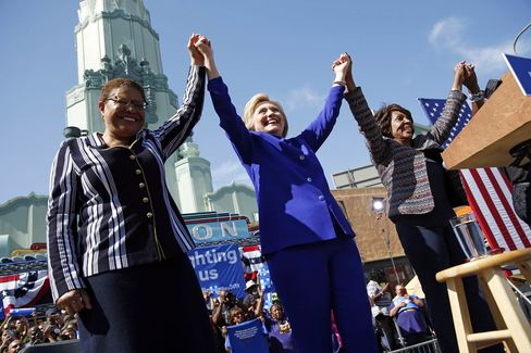Democratic presidential candidate Hillary Clinton, center, celebrates at a rally with Rep. Karen Bass, left, and Rep. Maxine Waters in Los Angeles on Monday.