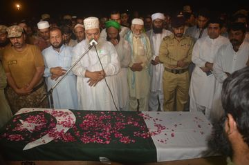 The funeral of a Pakistani soldier allegedly killed by Indian fire on Sept. 29. Photographer: Abdul Majid/AP Photo