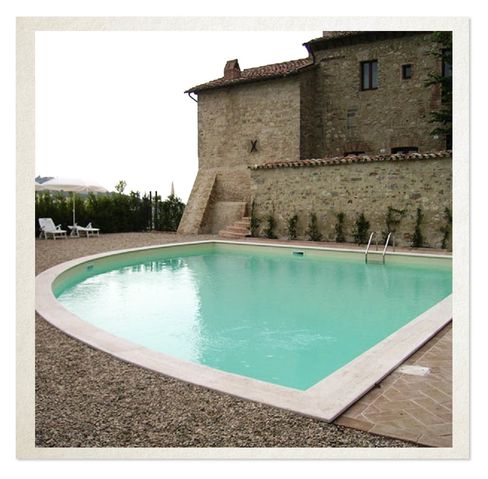 The castle has been owned by the Corsini family since the Emperor Otto bestowed it in 962 A.D. The pool is a more recent addition.