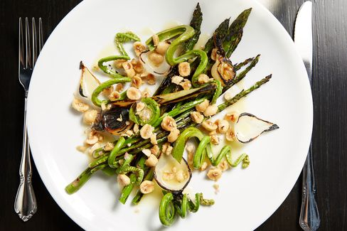 A party of asparagus and fiddlehead ferns.