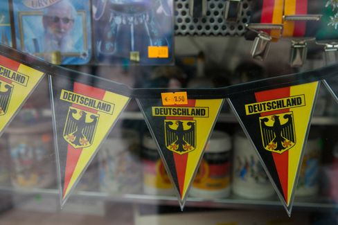 Bunting Hangs in a Souvenir Store in Munich