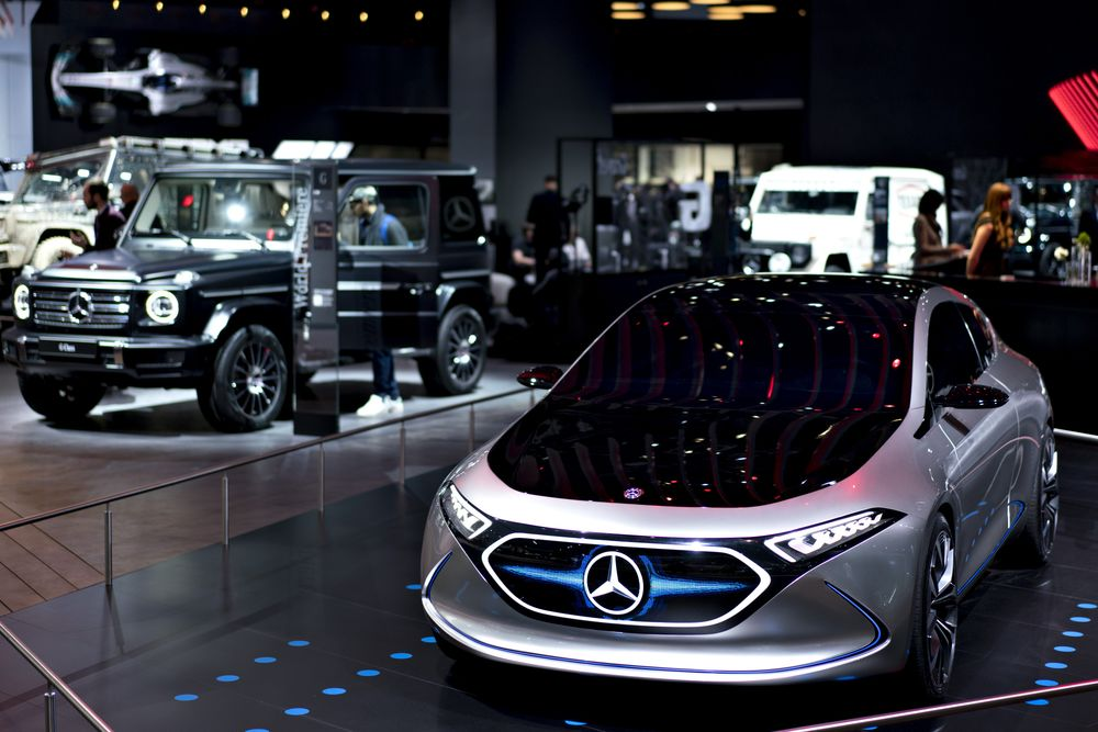 The Daimler Ag Mercedes Benz Concept Eqa Electric Vehicle Right Is Displayed During