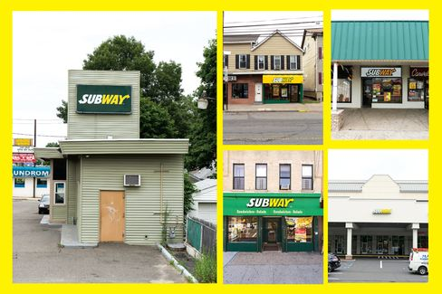 (Clockwise from left) Subways for sale in Melville, N.Y.; New Brunswick, N.J.; Merrick, N.Y.; Watchung, N.J.; and Brooklyn.